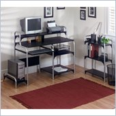 Altra Furniture Computer Desk and Bookcase Set in Black and Silver