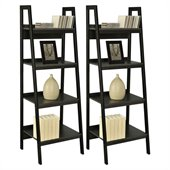 Altra Furniture Ladder Bookcase in Black (Set of 2)