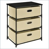 Altra Furniture 3 Bin Storage End Table in Black and Natural