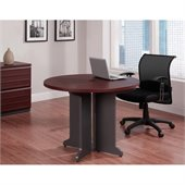 Altra Furniture Pursuit Round Meeting Table in Cherry and Gray