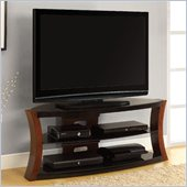 Altra Furniture Bentwood and Glass TV Stand in Cherry/Black