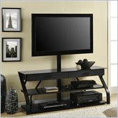 Altra Furniture Metal and Glass TV Stand with Mount in Black Finish
