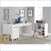 Altra Furniture Amelia Desk with Mobile Storage Cube and File in White Finish