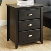 Altra Furniture Chelsea End Table with 3 Drawers in Black Finish