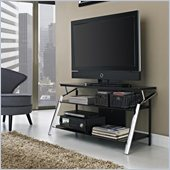Altra Furniture Chrome Leg TV Stand in Black Finish