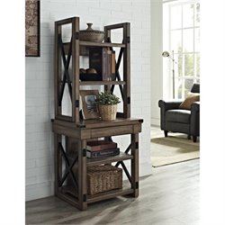 Altra Furniture Wildwood Rustic Audio Pier Bookcase with Metal Frame