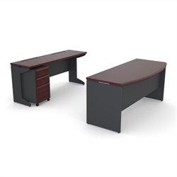 Altra Furniture Pursuit Small Office Set in Cherry and Gray