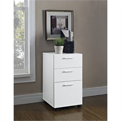Altra Furniture Princeton 3 Drawer Mobile File Cabinet in White
