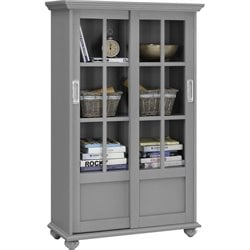 Altra Furniture Aaron Lane 4-Shelf Glass Door Bookcase in Soft Gray