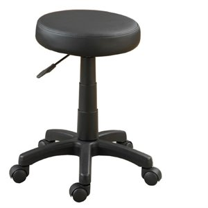 Poundex Faux Leather Adjustable Swivel Stool in Black