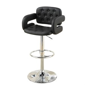Poundex Faux Leather Upholstered Adjustable Bar Stool in Black