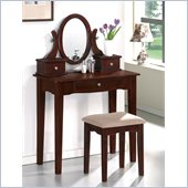 Poundex Bobkona Abana Vanity Set with Stool in Dark Cherry
