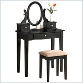 Poundex Bobkona Abana Vanity Set with Stool in Black