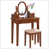 Poundex Bobkona Abana Vanity Set with Stool in Walnut