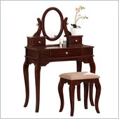 Poundex Bobkona Rylan Vanity Set with Stool in Dark Cherry