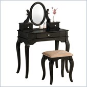 Poundex Bobkona Rylan Vanity Set with Stool in Black