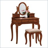 Poundex Bobkona Rylan Vanity Set with Stool in Walnut