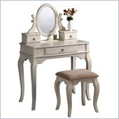 Poundex Bobkona Rylan Vanity Set with Stool in Antique White