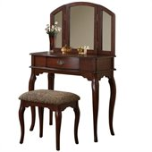 Poundex Bobkona Jaden Vanity Set with Stool in Cherry