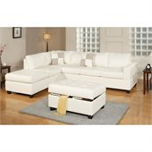 Poundex Bobkona Soft-Touch Bonded Leather 3-Piece Sectional in Cream