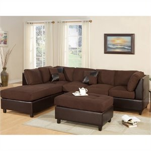 Poundex Bobkona Hungtinton Microfiber/Faux Leather 3-Piece Sectional in Chocolate