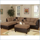 Poundex Bobkona Hungtinton Microfiber/Faux Leather 3-Piece Sectional in Saddle