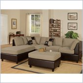 Poundex Bobkona Hungtinton Microfiber/Faux Leather 3-Piece Sectional in Pebble