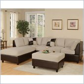 Poundex Bobkona Hungtinton Microfiber/Faux Leather 3-Piece Sectional in Mushroom