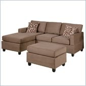 Poundex Bobkona Manhattan Reversible Microfiber 3-Piece Sectional in Saddle