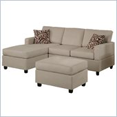 Poundex Bobkona Manhattan Reversible Microfiber 3-Piece Sectional in Mushroom