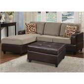 Poundex Bobkona Manhattan 3-Piece Sectional and Faux Leather Ottoman in Pebble