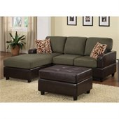 Poundex Bobkona Manhattan 3-Piece Sectional and Faux Leather Ottoman in Sage