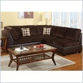 Poundex Bobkona U-Design Microfiber 2-Piece Sectional in Ailurophile Chocolate