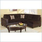 Poundex Bobkona U-Design Microfiber 2-Piece Sectional in Dulcet Chocolate