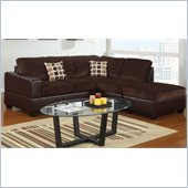 Poundex Bobkona U-Design Microfiber 3-Piece Sectional in Ethereal Chocolate