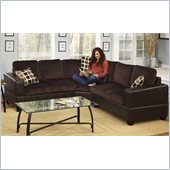Poundex Bobkona U-Design Microfiber 3-Piece Sectional in Glamour Chocolate