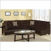 Poundex Bobkona U-Design Microfiber 2-Piece Sectional in Halcyon Chocolate