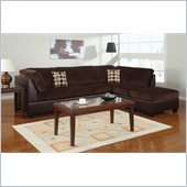 Poundex Bobkona U-Design Microfiber 3-Piece Sectional in Ingenue Chocolate