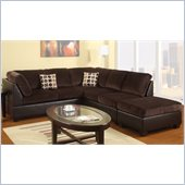 Poundex Bobkona U-Design Microfiber 3-Piece Sectional in Leisure Chocolate