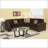 Poundex Bobkona U-Design Microfiber 3-Piece Sectional in Lissome Chocolate