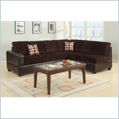 Poundex Bobkona U-Design Microfiber 2-Piece Sectional in Lithe Chocolate