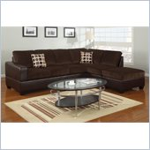Poundex Bobkona U-Design Microfiber 3-Piece Sectional in Lush Chocolate