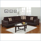 Poundex Bobkona U-Design Microfiber 3-Piece Sectional in Moiety Chocolate