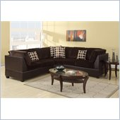 Poundex Bobkona U-Design Microfiber 3-Piece Sectional in Opulent Chocolate