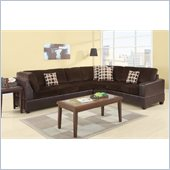 Poundex Bobkona U-Design Microfiber 3-Piece Sectional in Prolific Chocolate