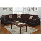 Poundex Bobkona U-Design Microfiber 3-Piece Sectional in Petrichor Chocolate