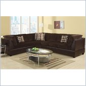 Poundex Bobkona U-Design Microfiber 3-Piece Sectional in Scintilla Chocolate