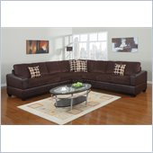 Poundex Bobkona U-Design Microfiber 3-Piece Sectional in Summery Chocolate