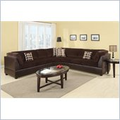 Poundex Bobkona U-Design Microfiber 3-Piece Sectional in Sumptuous Chocolate