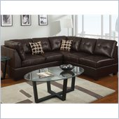Poundex Bobkona U-Design Bonded Leather 2-Piece Sectional in Ailurophile Espresso